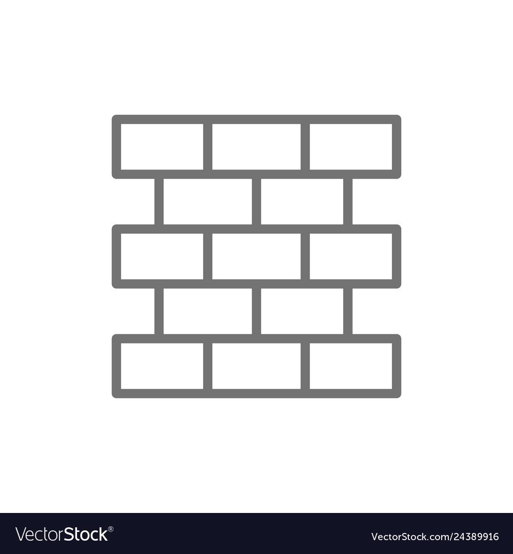 Bricks wall brickwork line icon