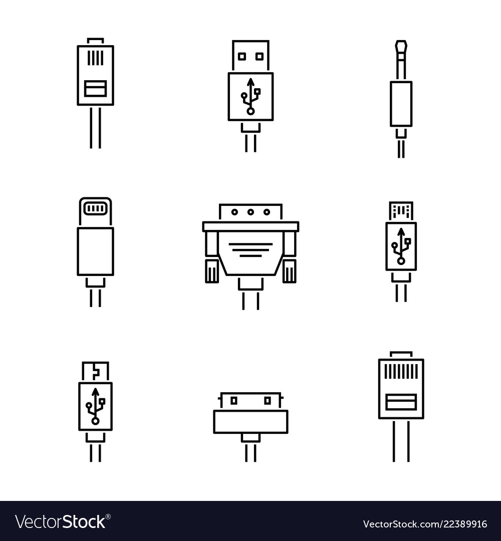 Cable conectors and plugs icons set