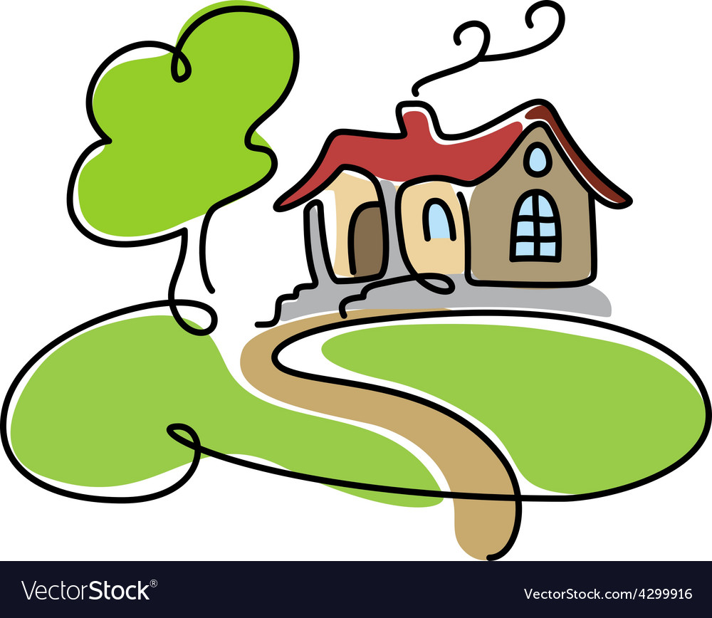 Cartoon house icon with road vector image