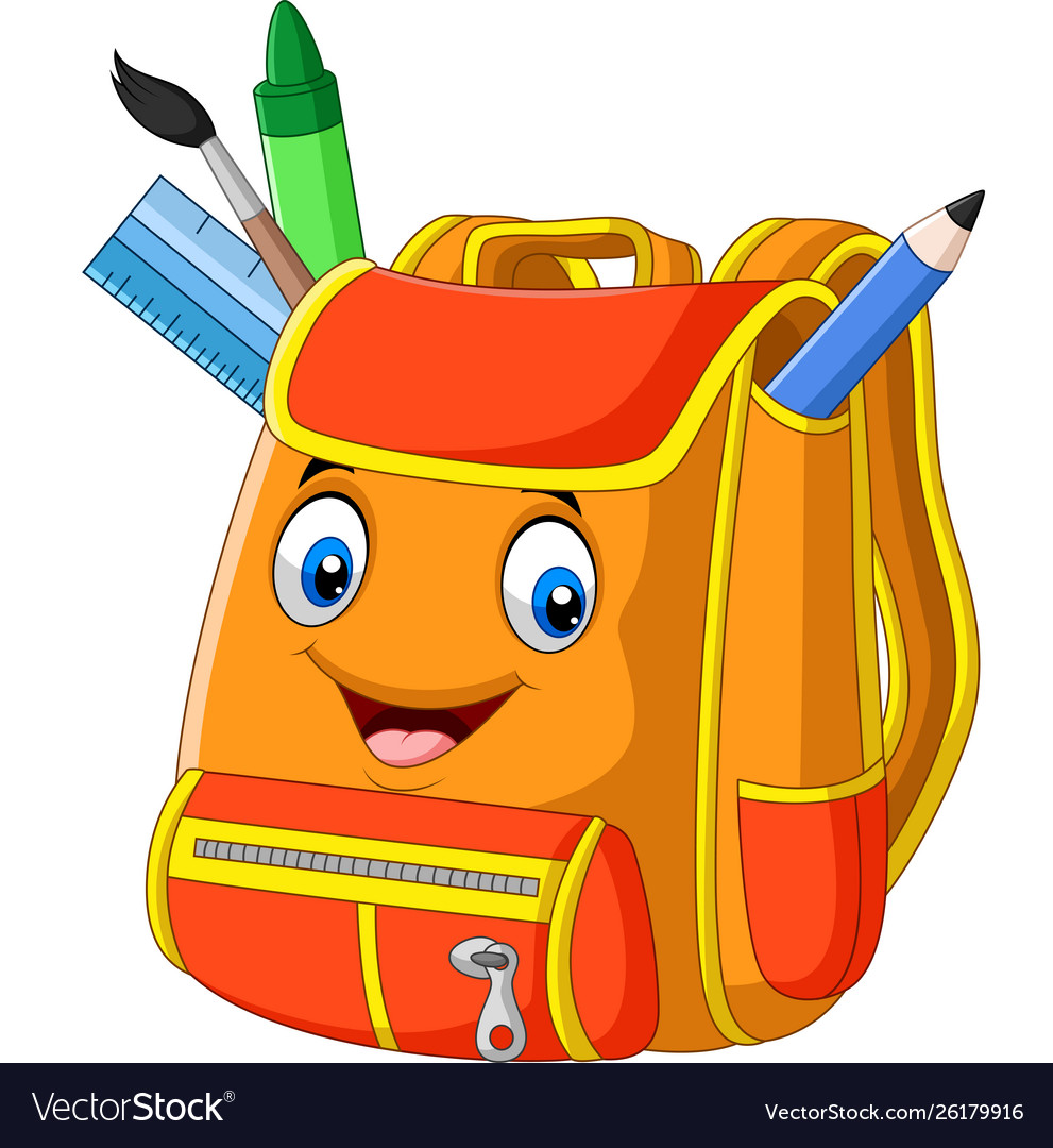 Cartoon School Backpack On White Background Vector Image
