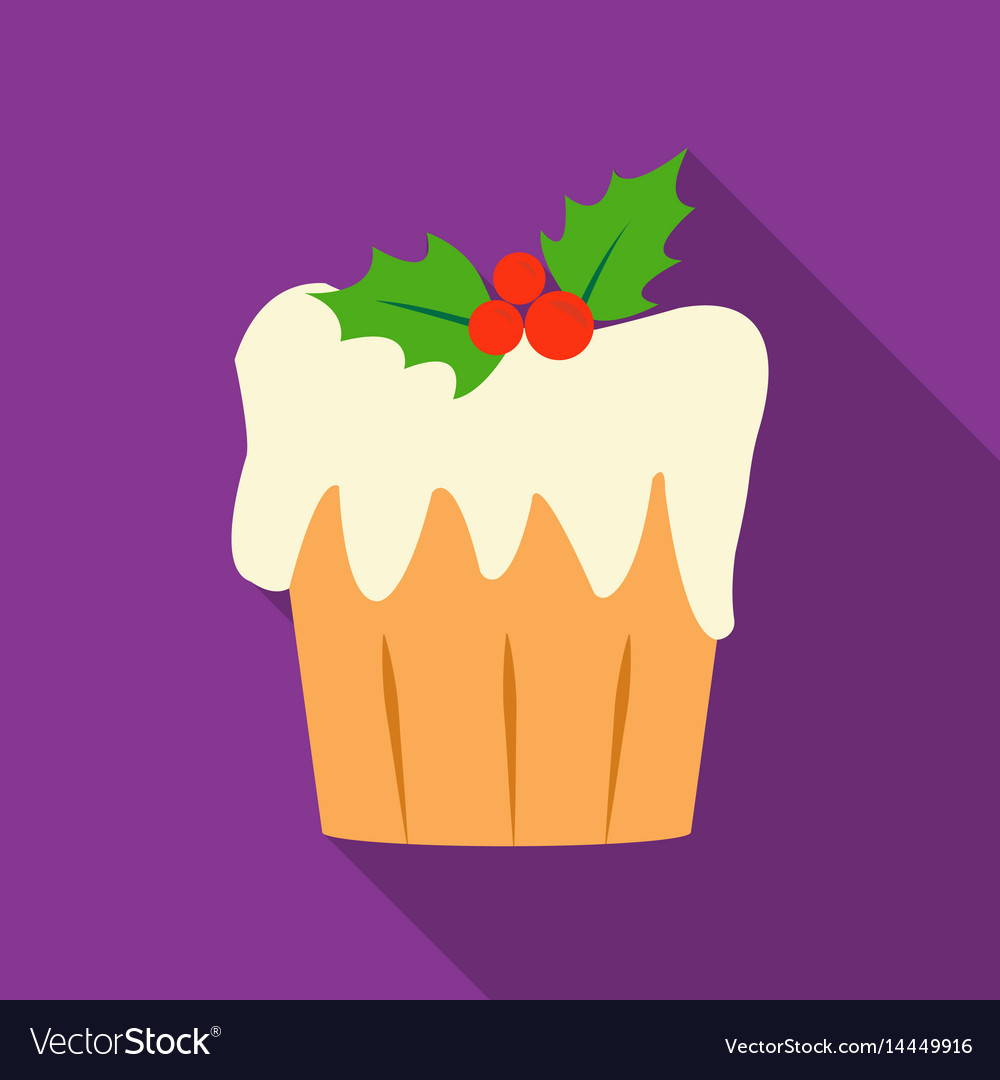Christmas cake icon in flat style isolated on
