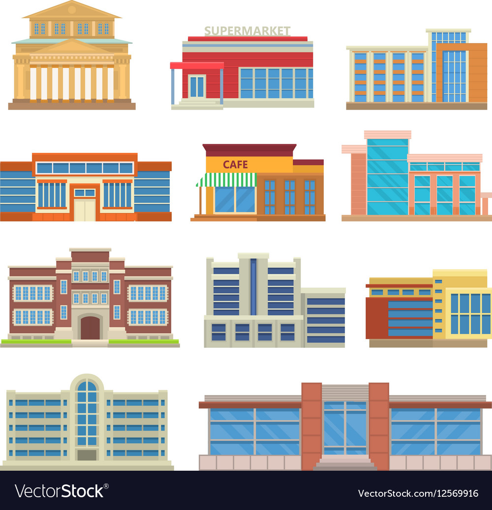 Commercial buildings architecture flat