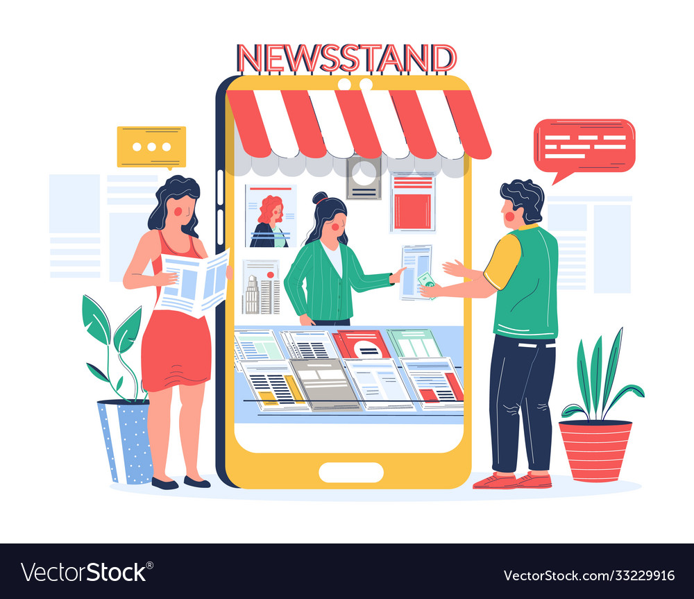 Digital newsstand people buying and reading