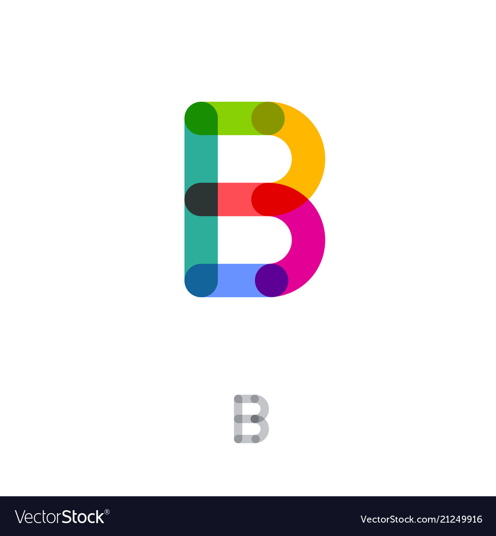 Flat style b letter monogram transparent color