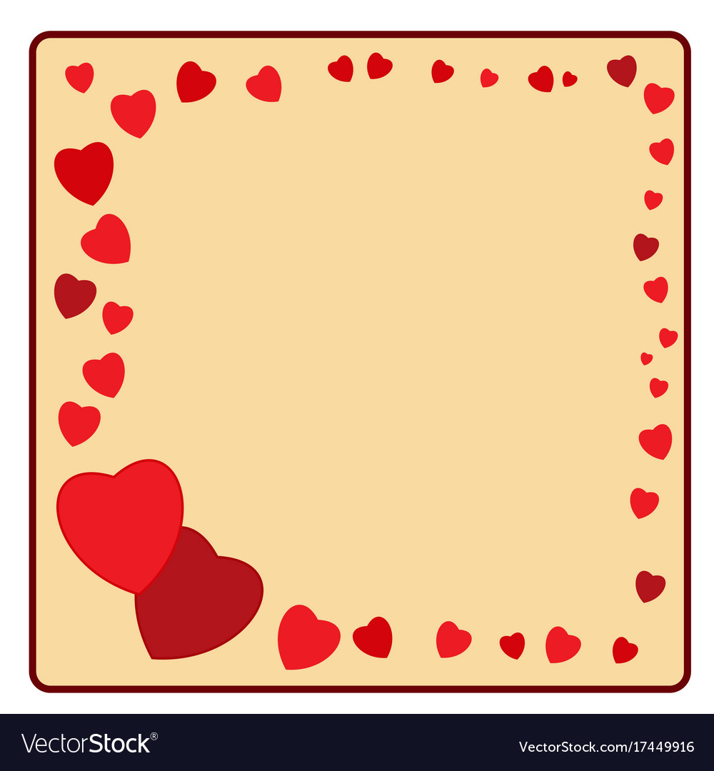 Frame of red heart card Royalty Free Vector Image