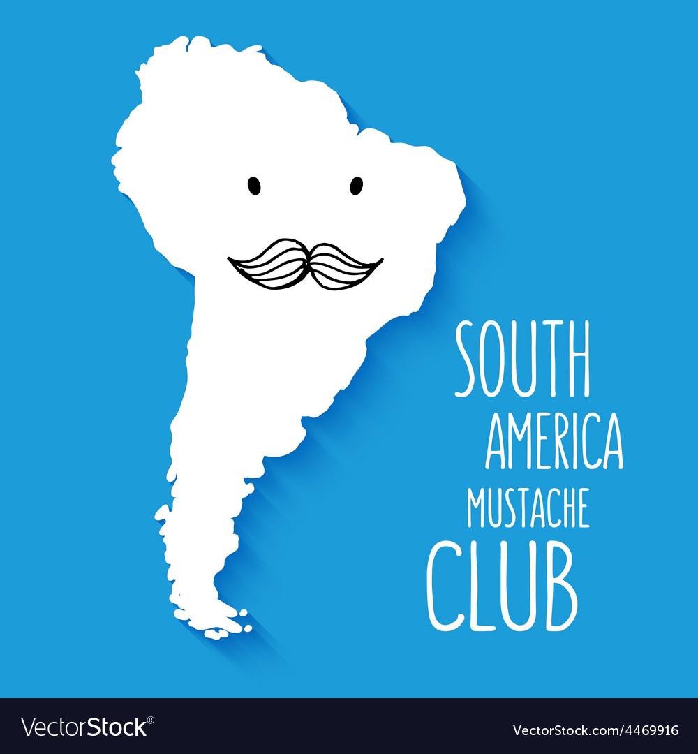 Fun mustache club cartoon South America hand drawn