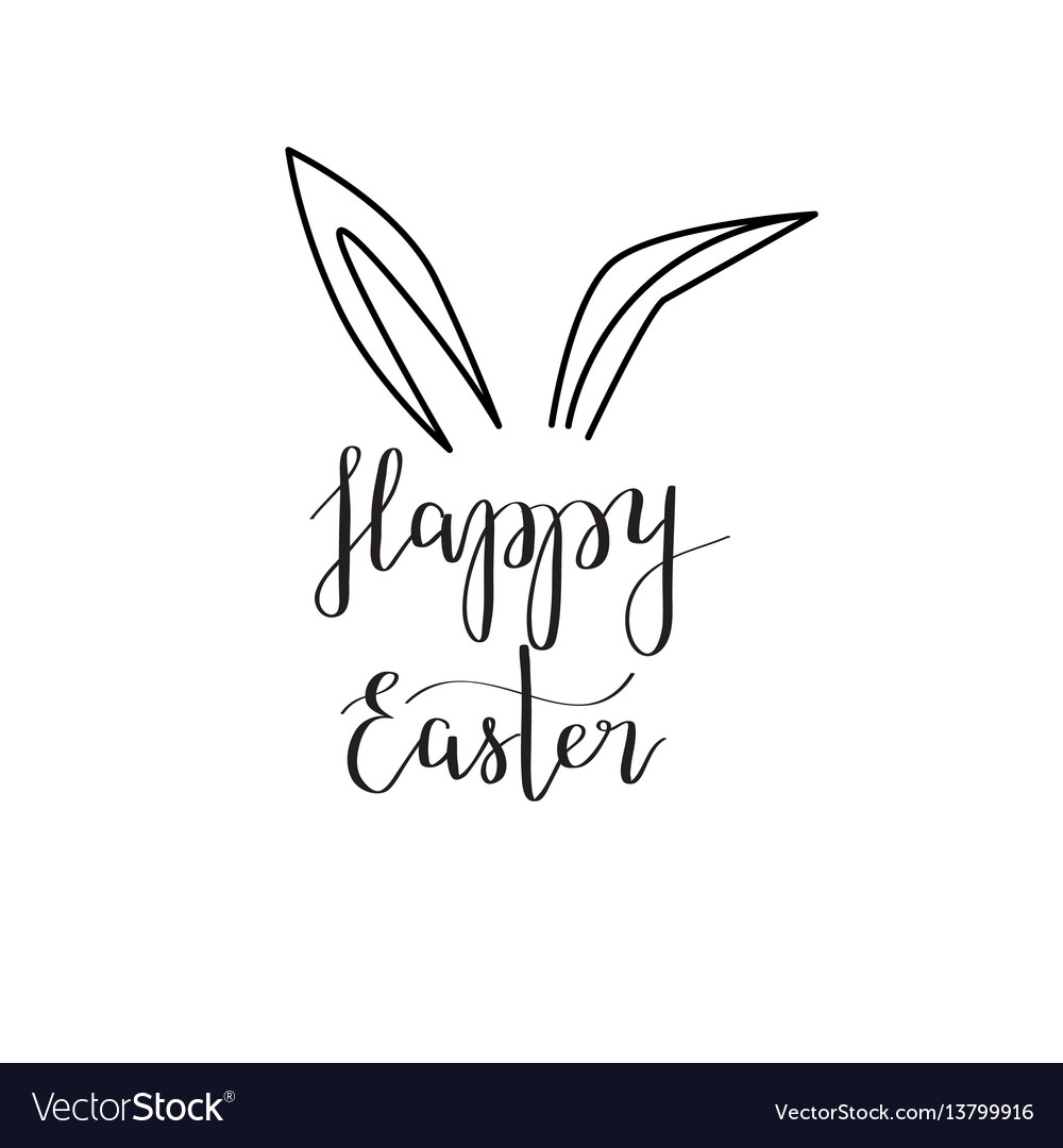 Happy Easter Rabbit Ear Calligraphy Royalty Free Vector