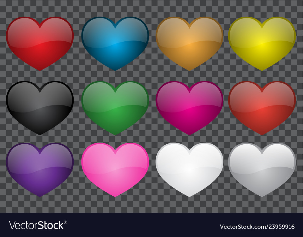 Heart colour glossy collection on transparency