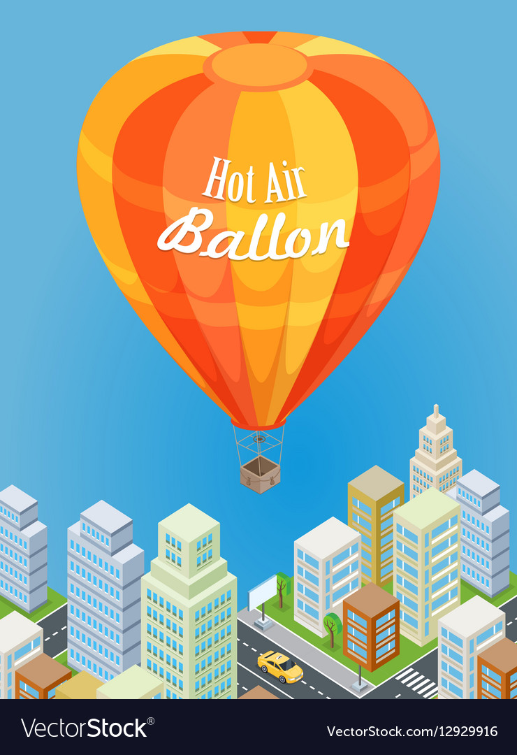Hot Air Balloon Flying Over Urban City Aircraft