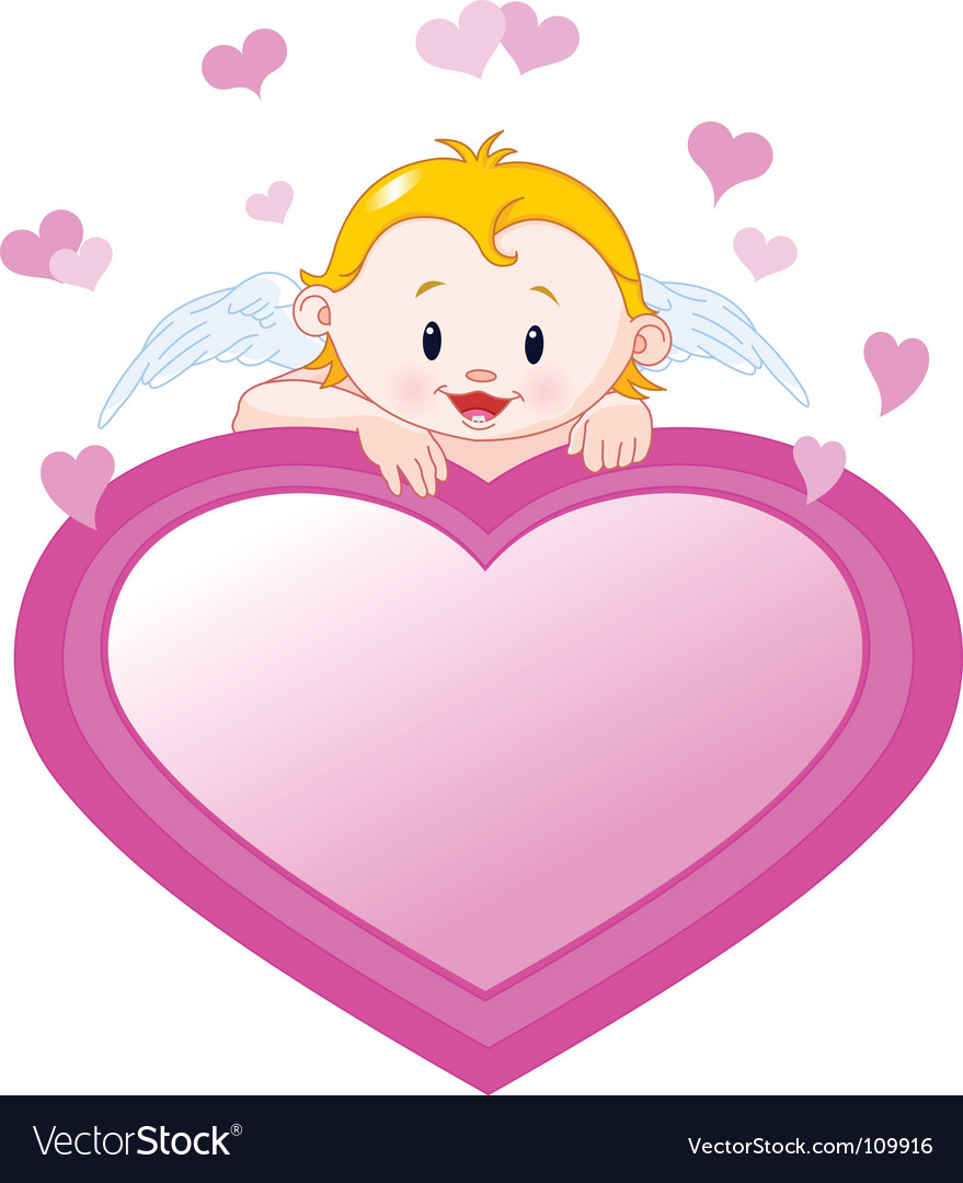 Little angel and valentine heart vector image