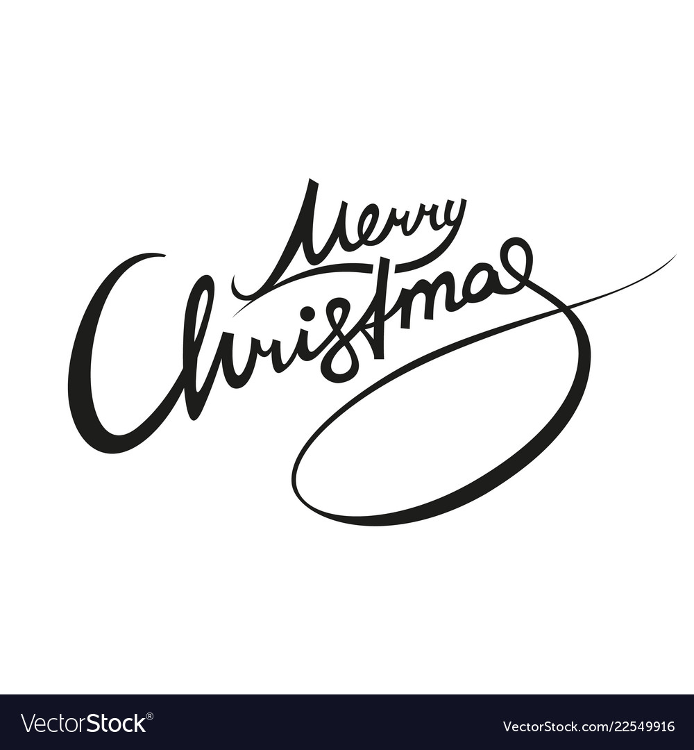 merry christmas lettering black royalty free vector image vectorstock
