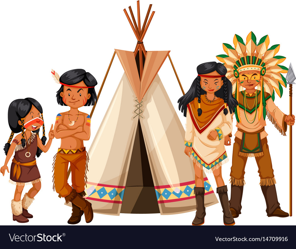 Native american indians standing by the teepee vector image