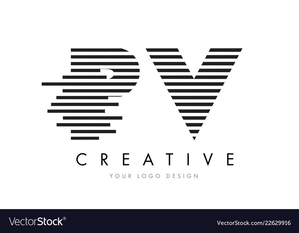 Pv p v zebra letter logo design with black and