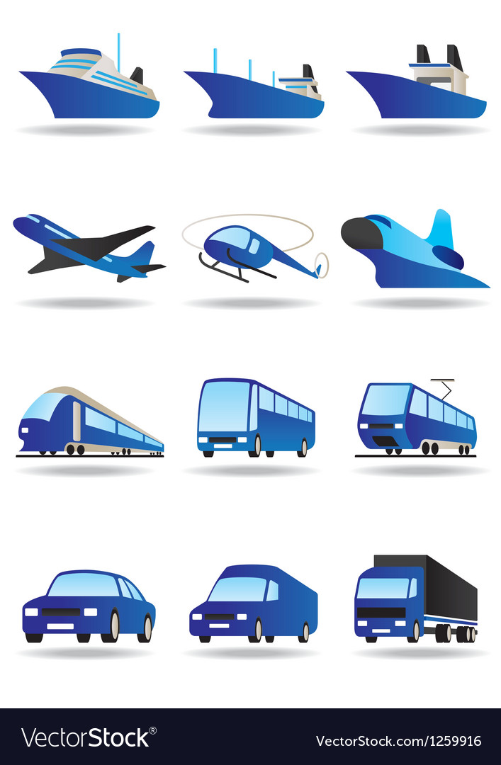 Road sea and space transport icons set