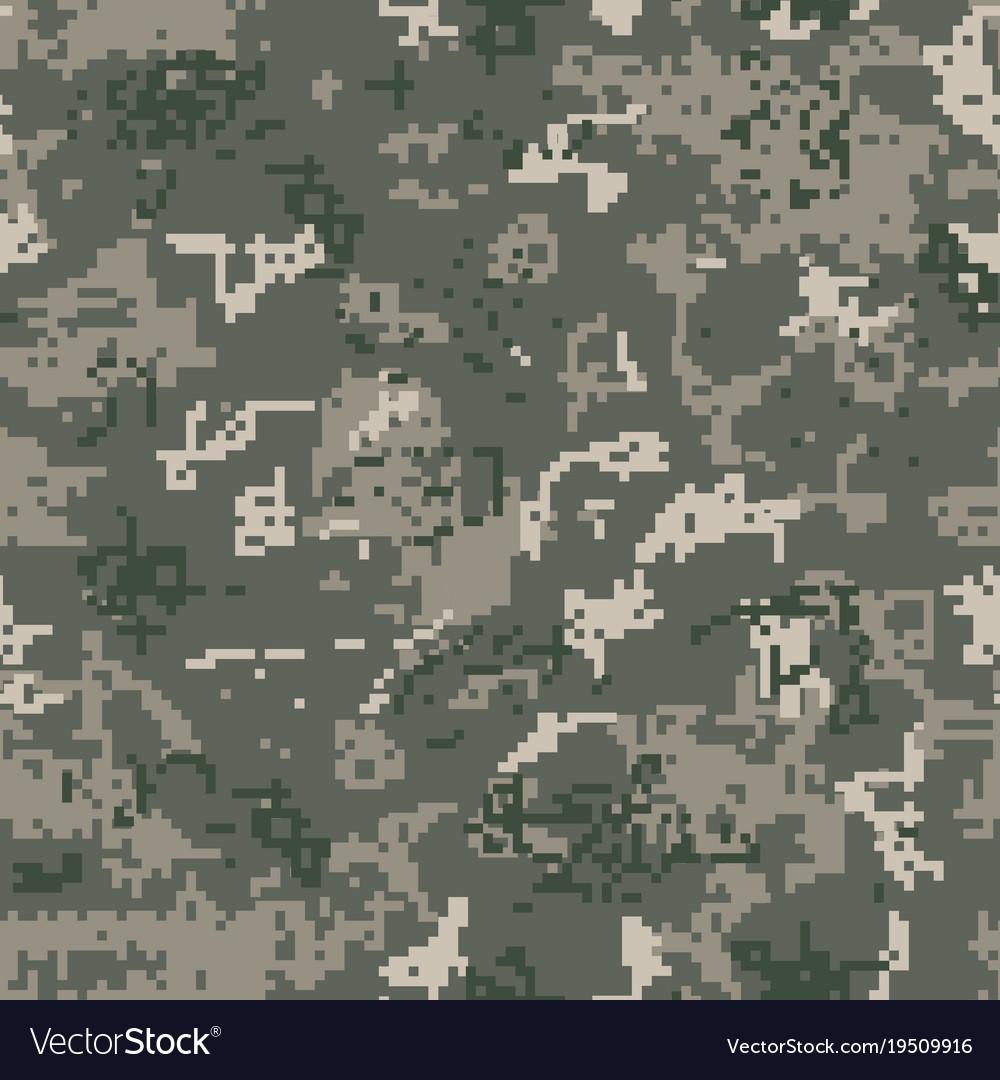 Seamless khaki camouflage of pixel pattern