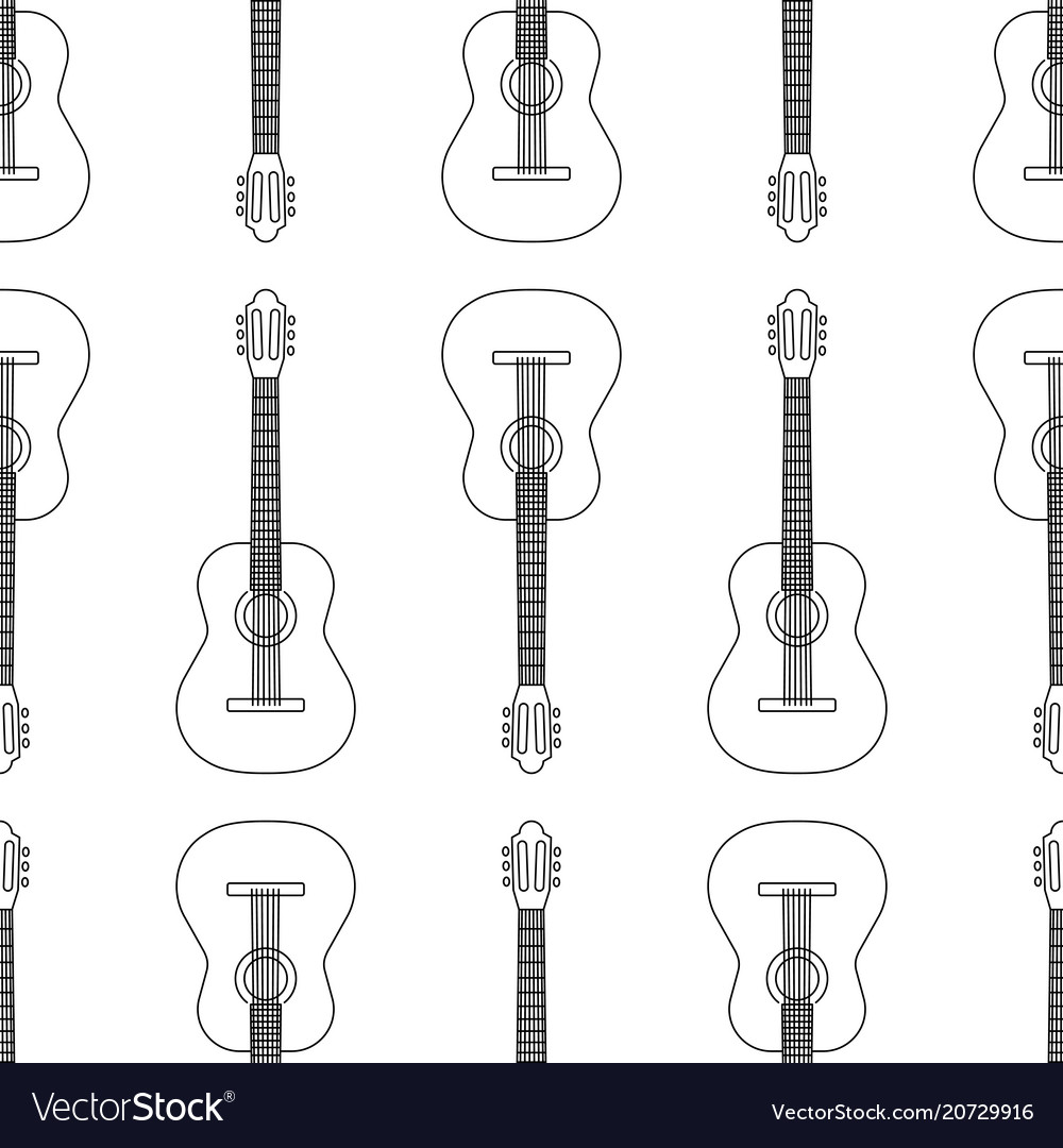 Seamless pattern from acoustic guitar icon black