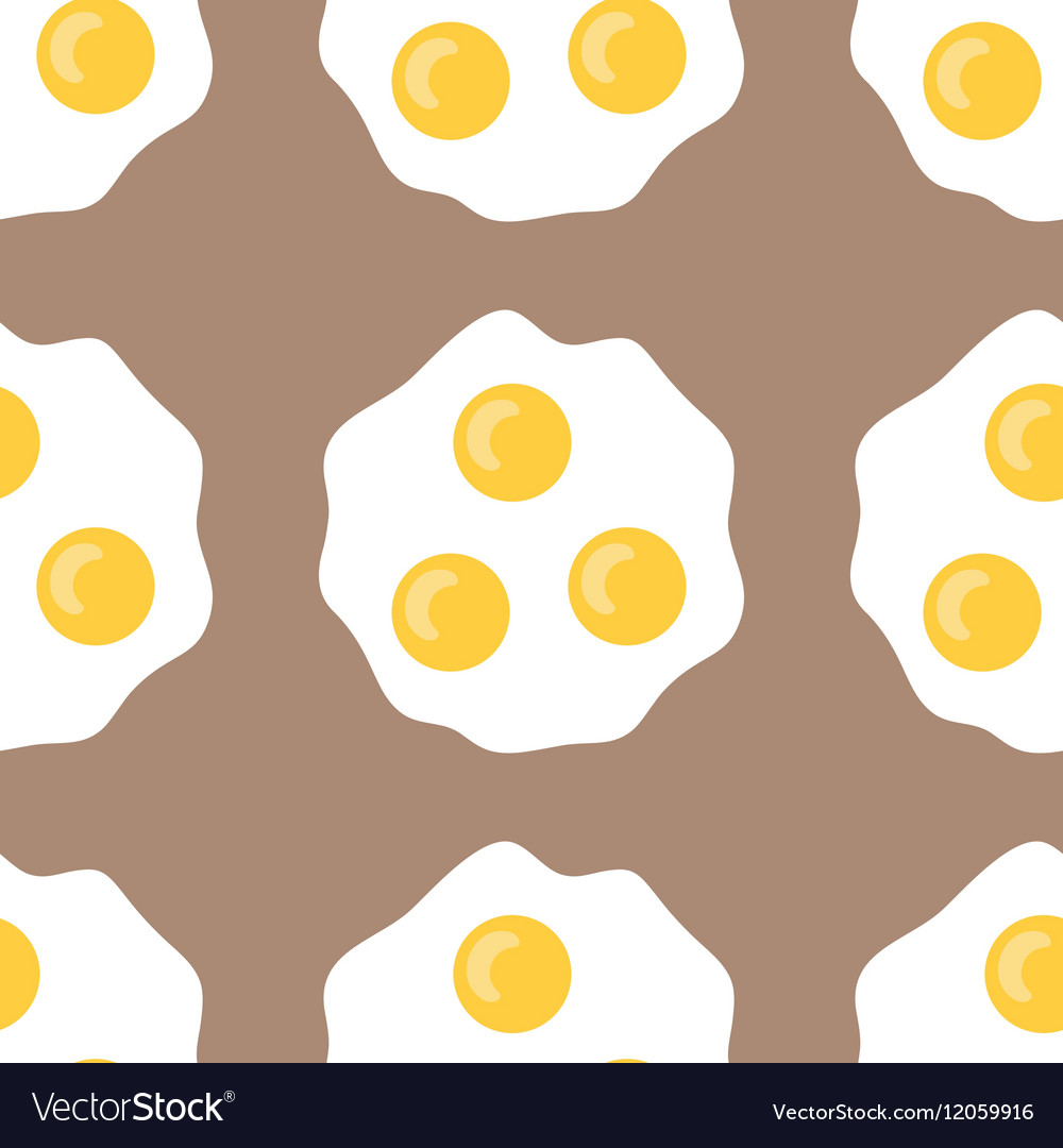 Seamless pattern with fried eggs Background of