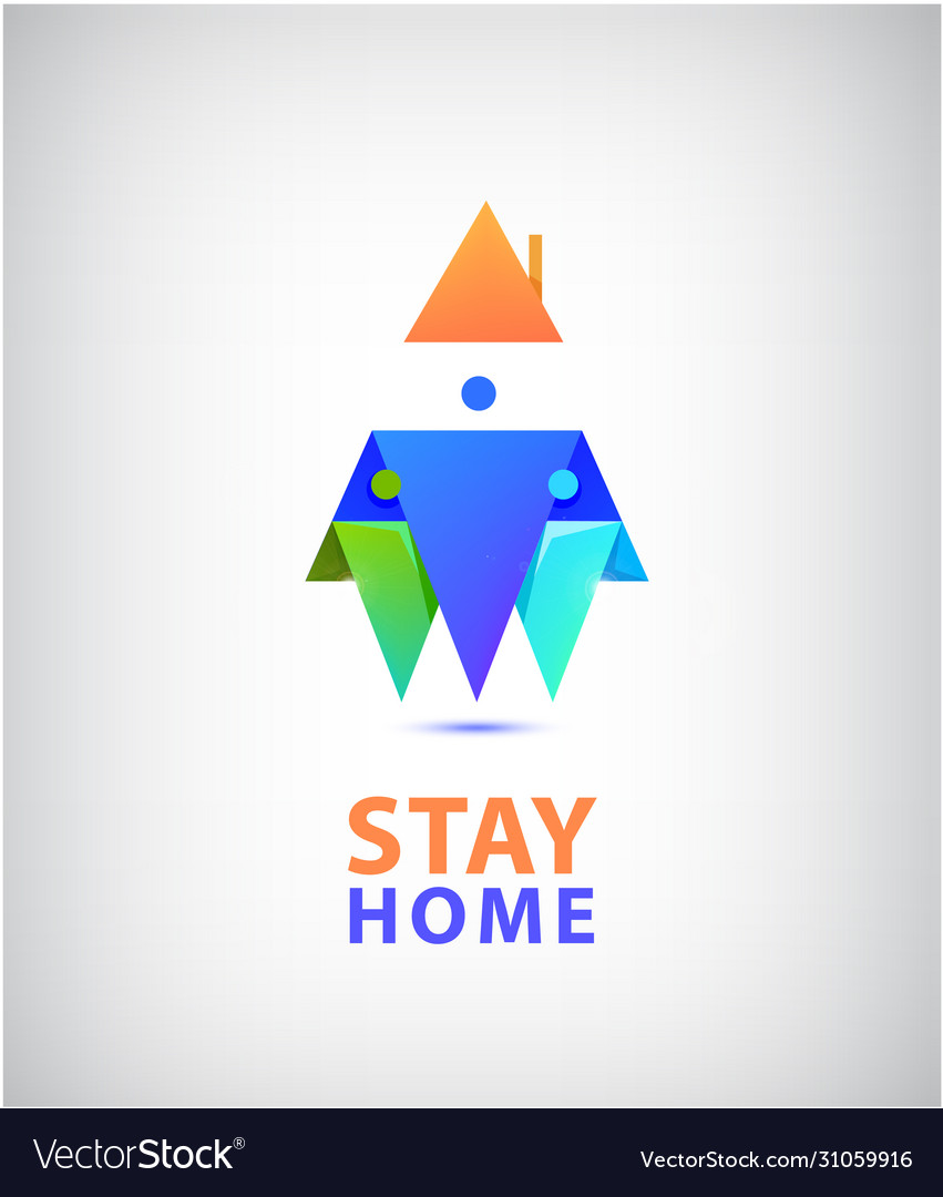 Stay home logo family 3 sitting home