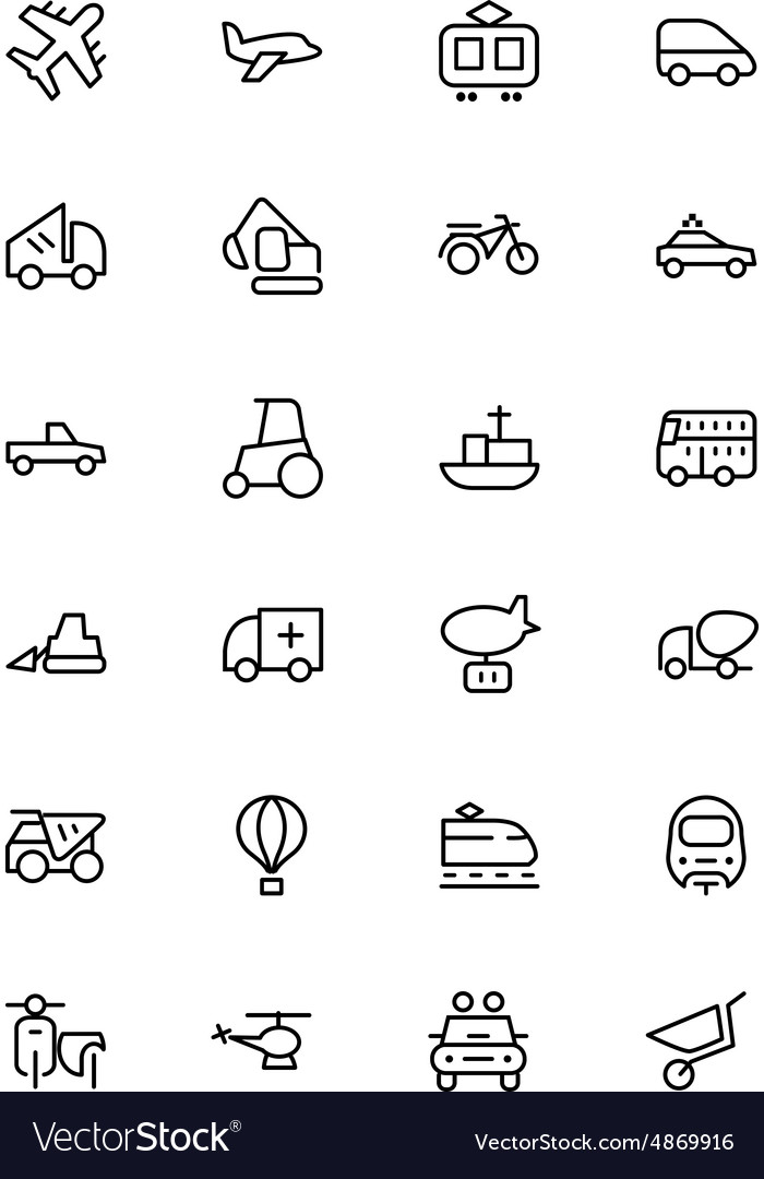 Transport Line Icons 2 vector image