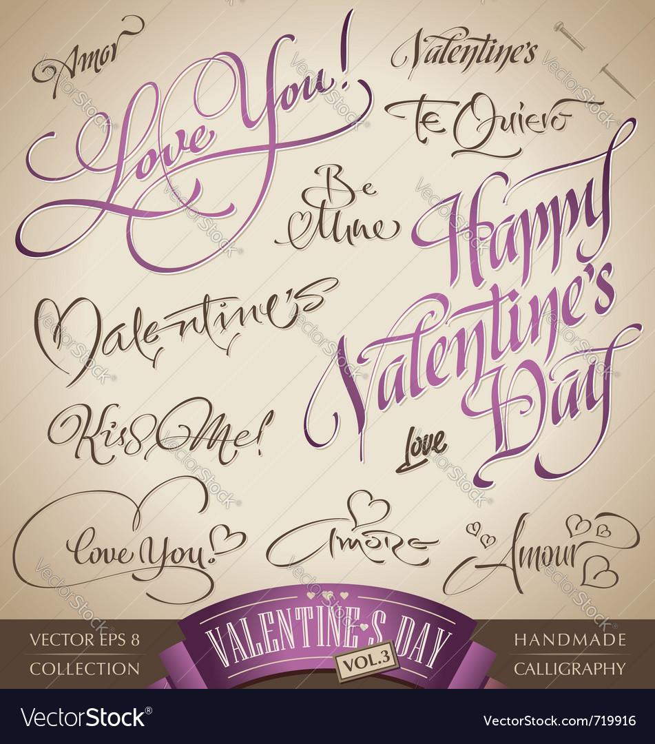 Valentines hand lettering set