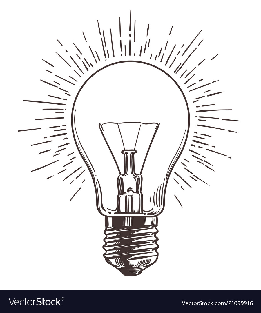 Vintage light bulb in engraving style hand drawn