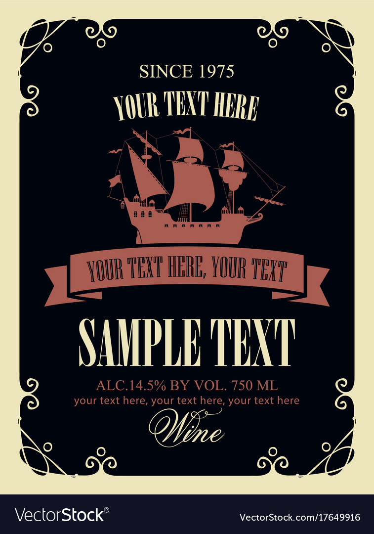 Wine label with a picture of the old sailing ship vector image