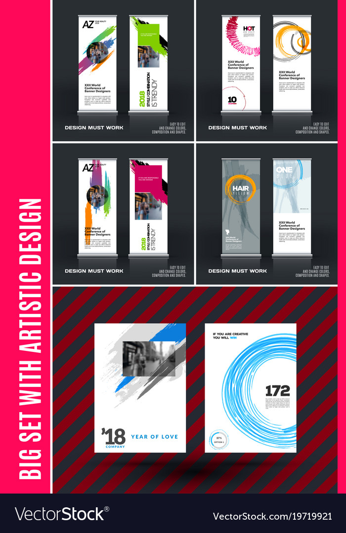 Business Set Of Modern Roll Up Banner Stand Vector Image Unique Artistic Displays Banner Stands