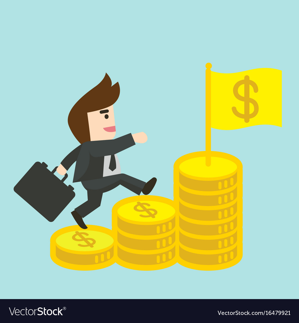 Businessman is walking up the stair of money