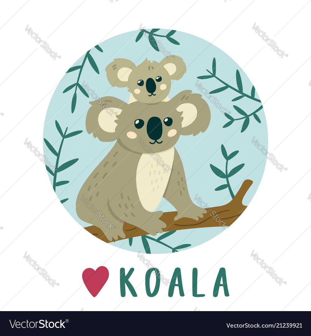 Cute koala bear sitting on the tree creative kids