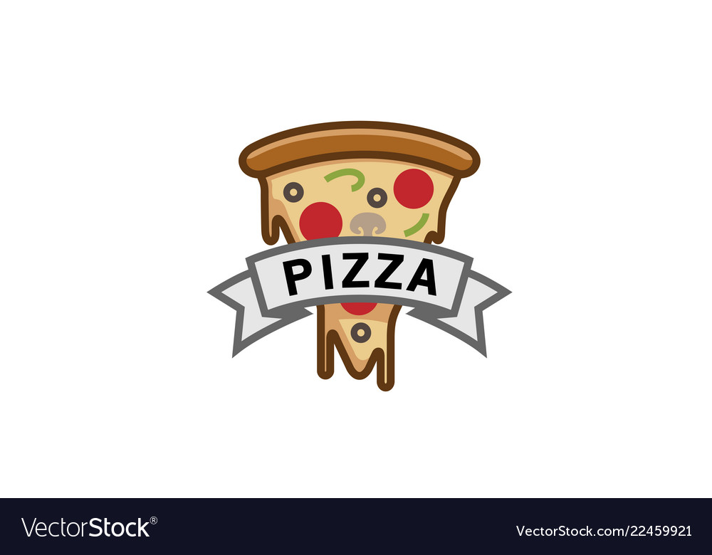 Delicious pizza slice ribbon symbol logo