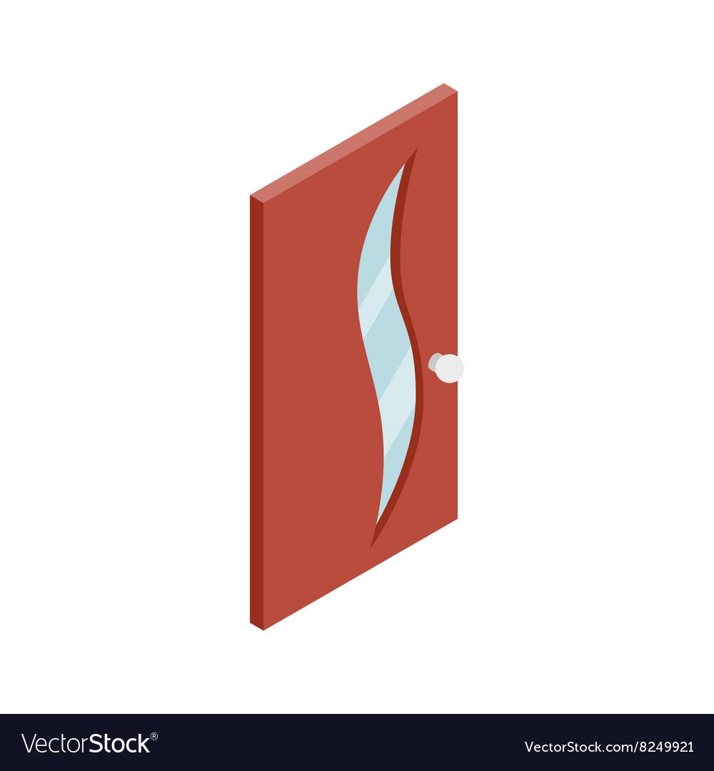 Door with glass wavelike inset icon
