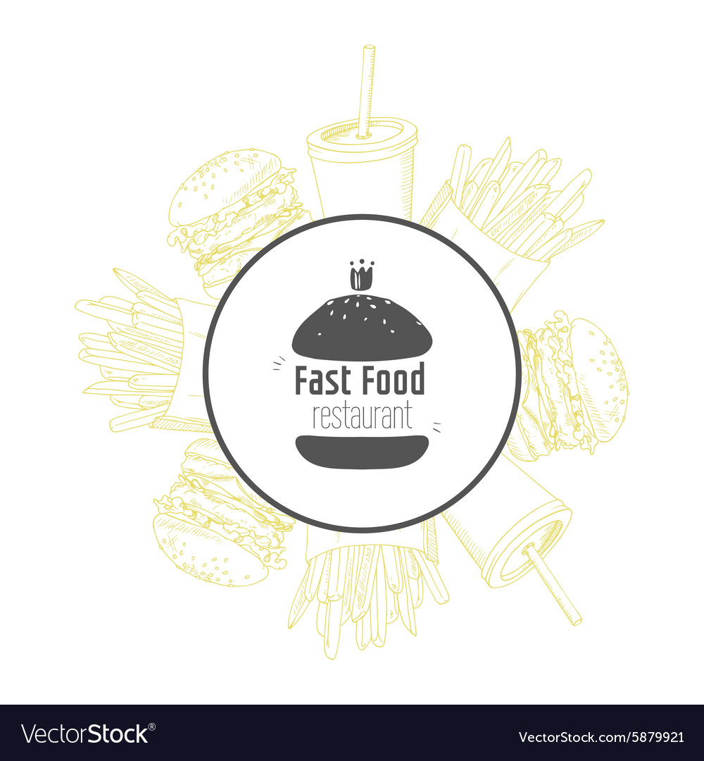 Fast food background and round label with hand