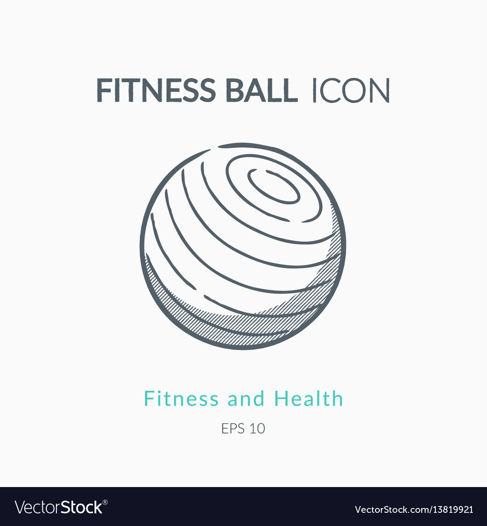 Fitness ball icon on white background vector image