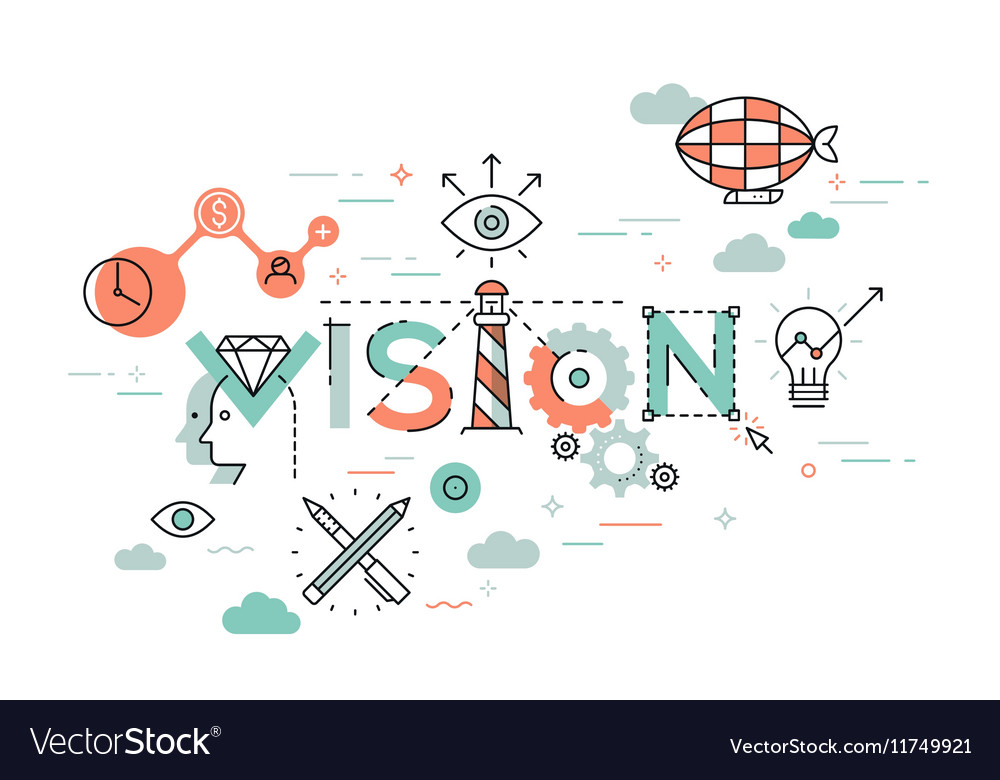 Flat Style Thin Line Banner design of Vision vector image