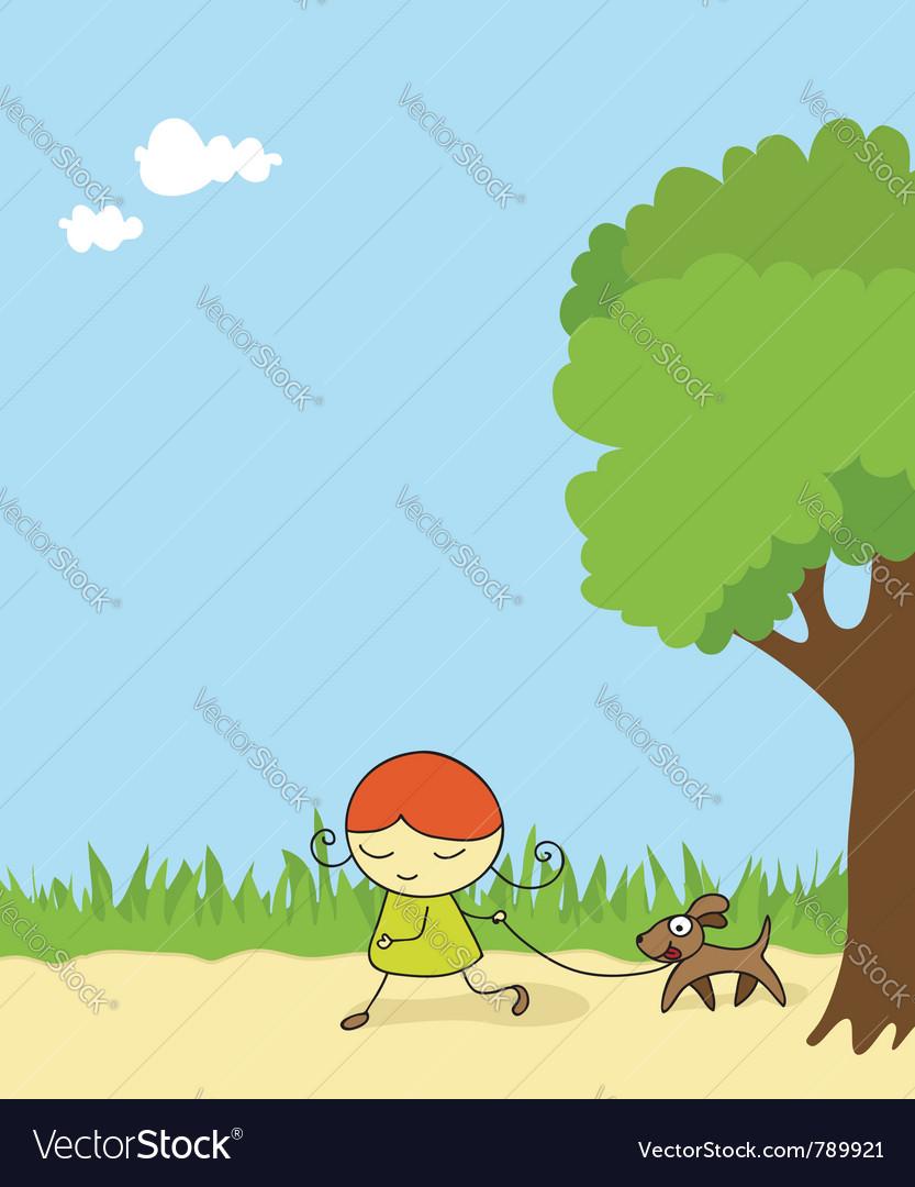 Girl walking dog vector image