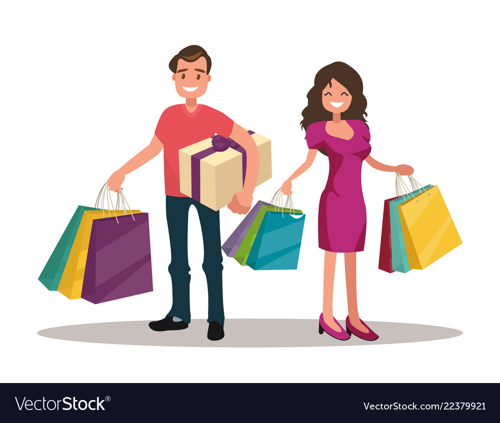 Happy family couple with shopping