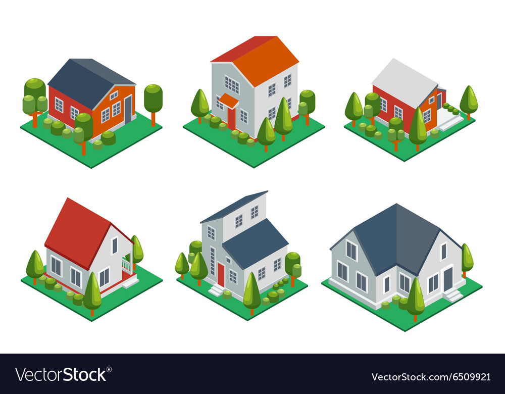 Isometric 3d private house rural buildings and