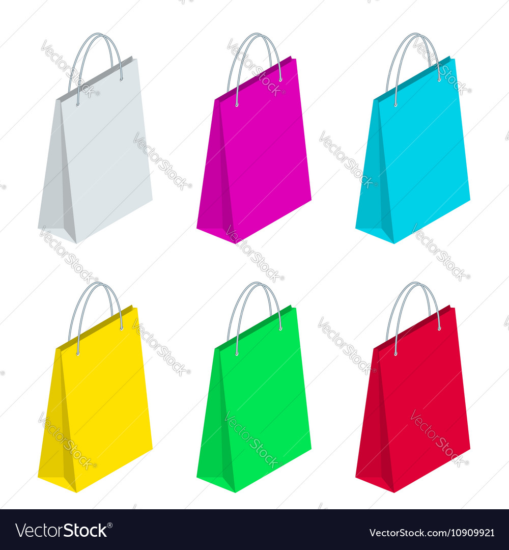 Isometric Paper Shopping Bags collection isolated
