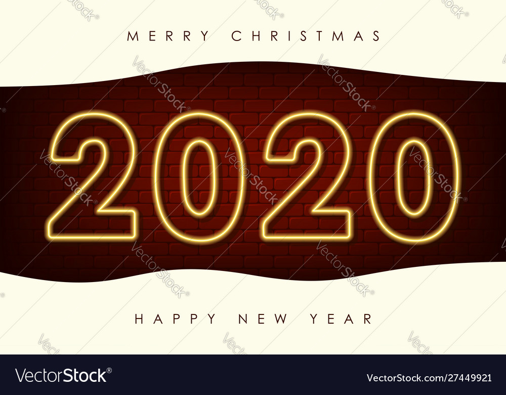 New year with 2020 neon numbers