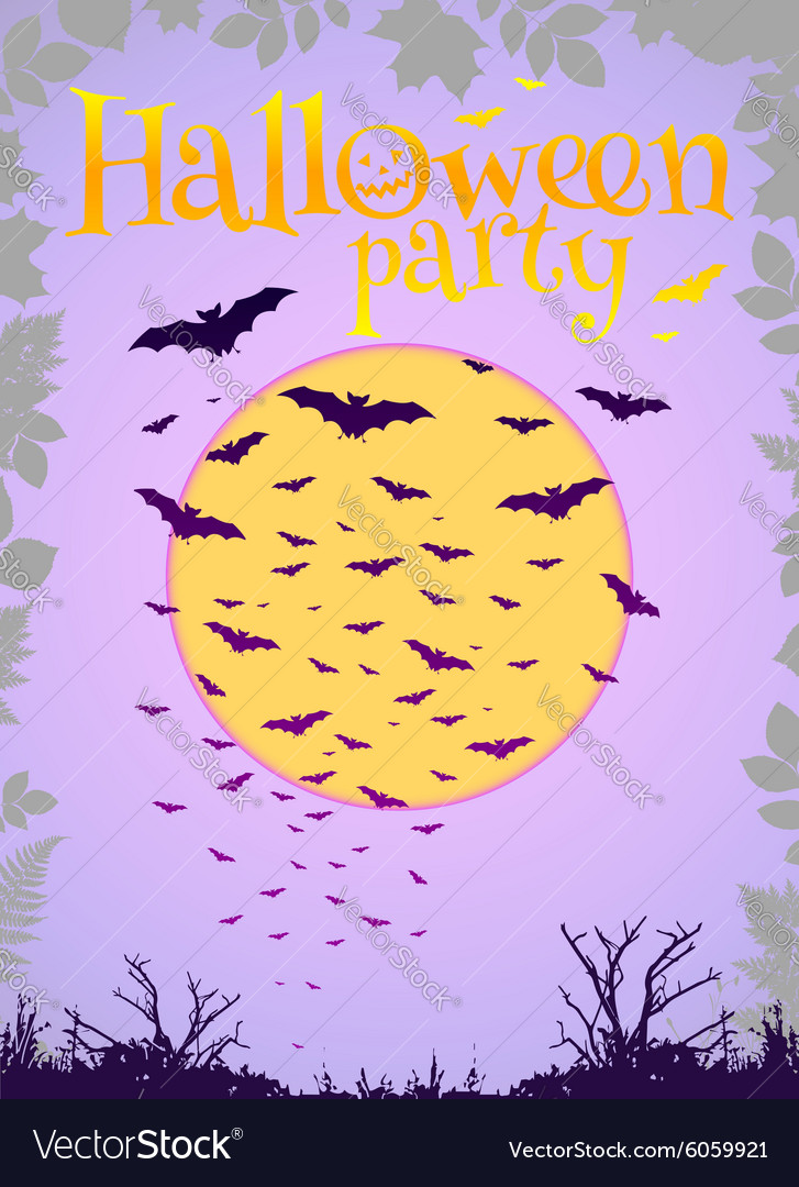 Purple Halloween party background with flying bats