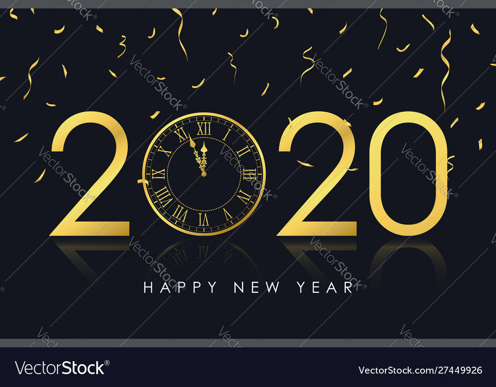 2020 new year card with gold clock