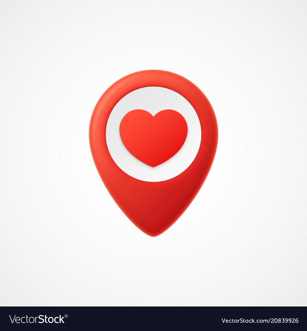 3d map pointer with heart icon map markers