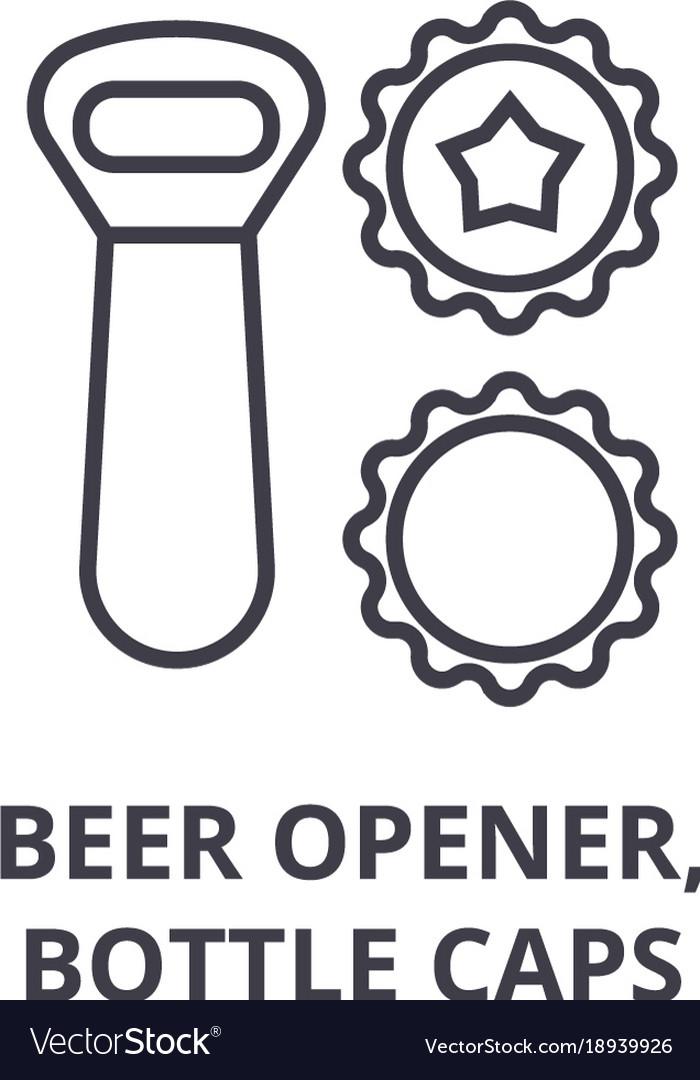 Beer opener bottle caps line icon outline sign