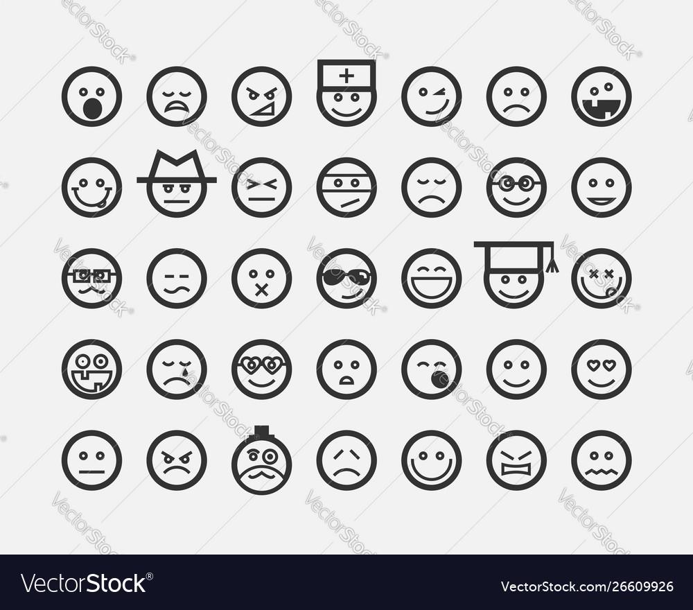 Big set smiles faces collection smile icon symbol