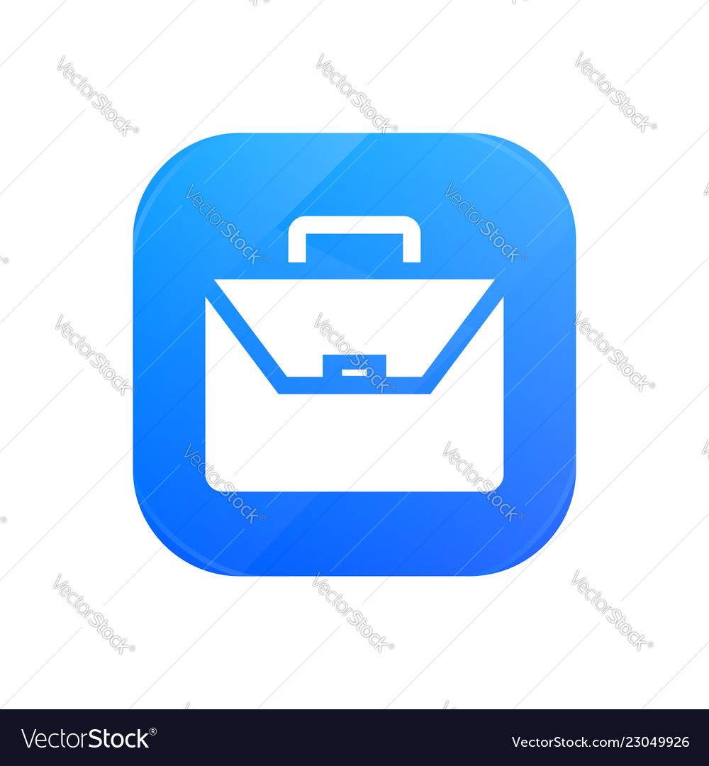 Briefcase business flat icon glossy icon isolated