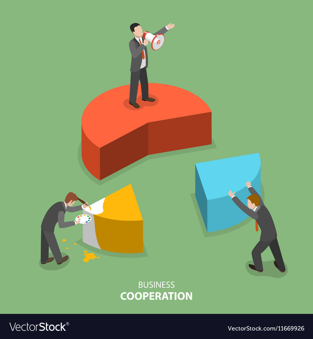 Business cooperation isometric flat concept