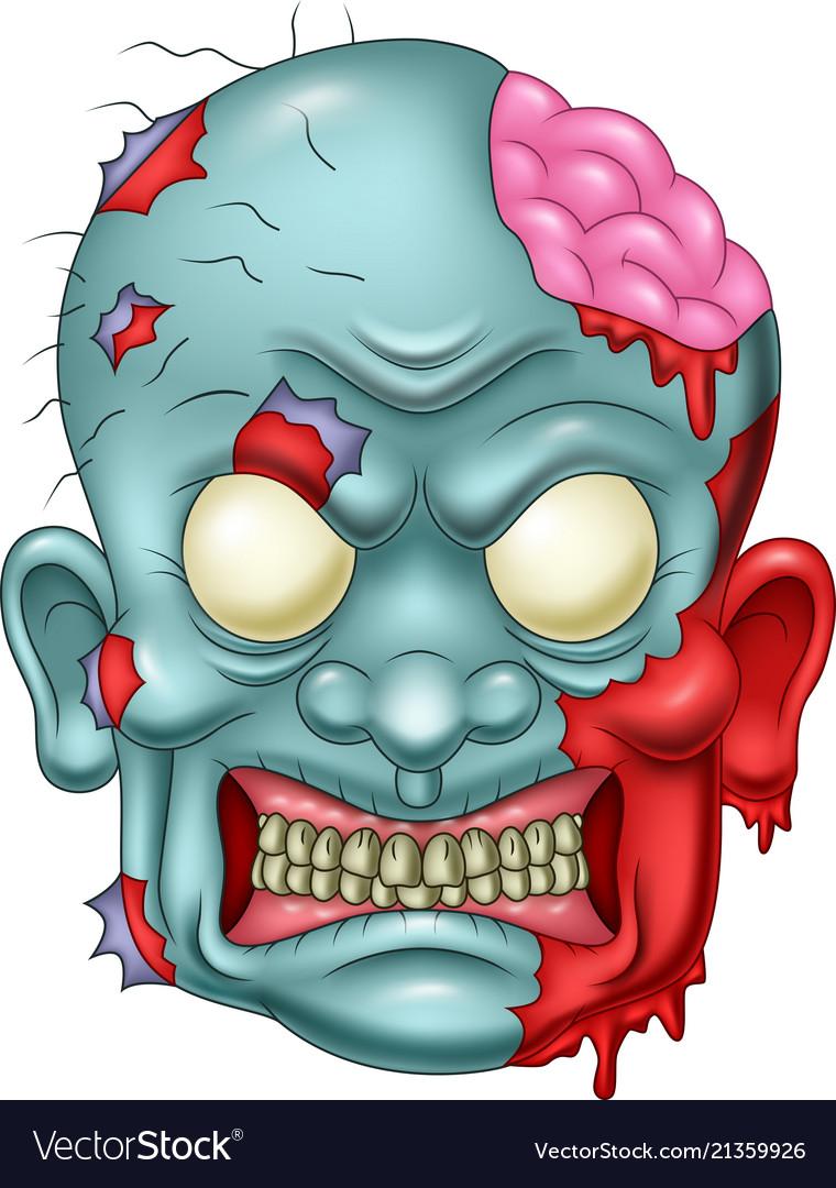 Cartoon zombie head icon