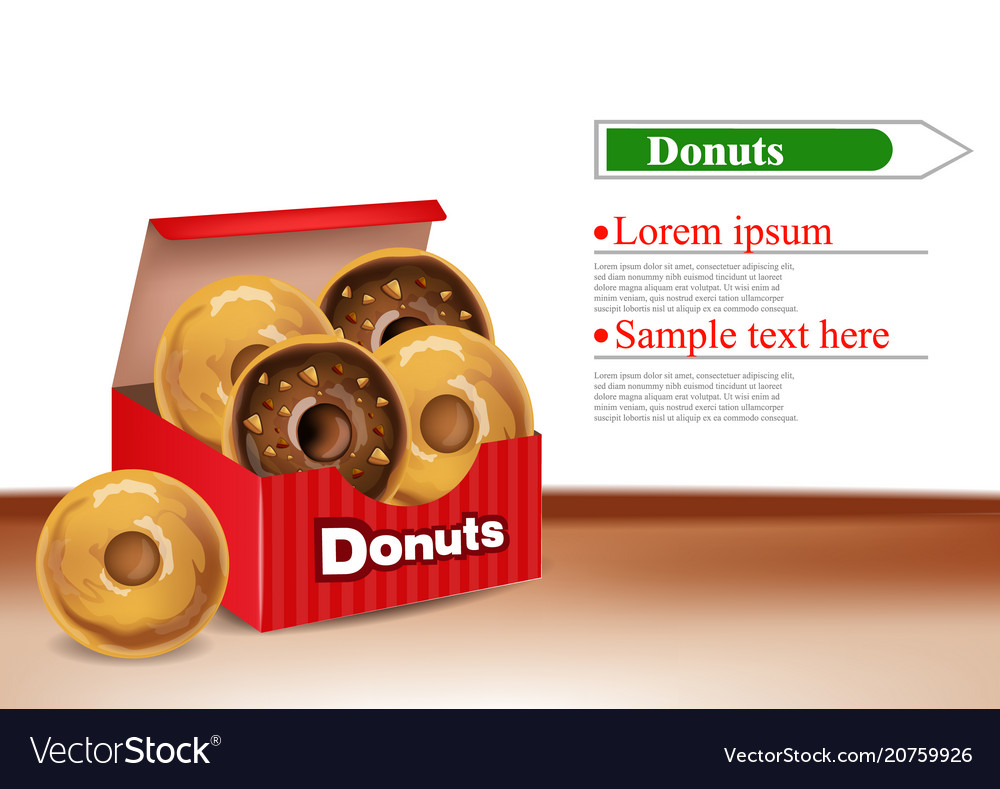 Donuts box realistic 3d deliclous dessert