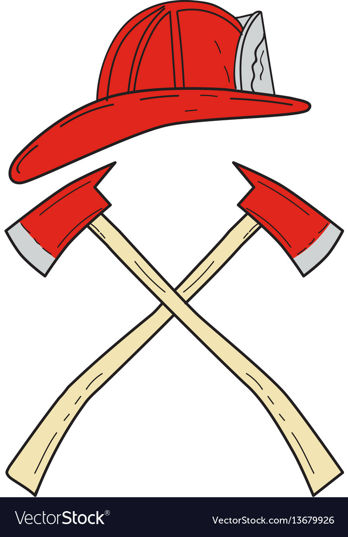 Fireman helmet crossed fire axe drawing