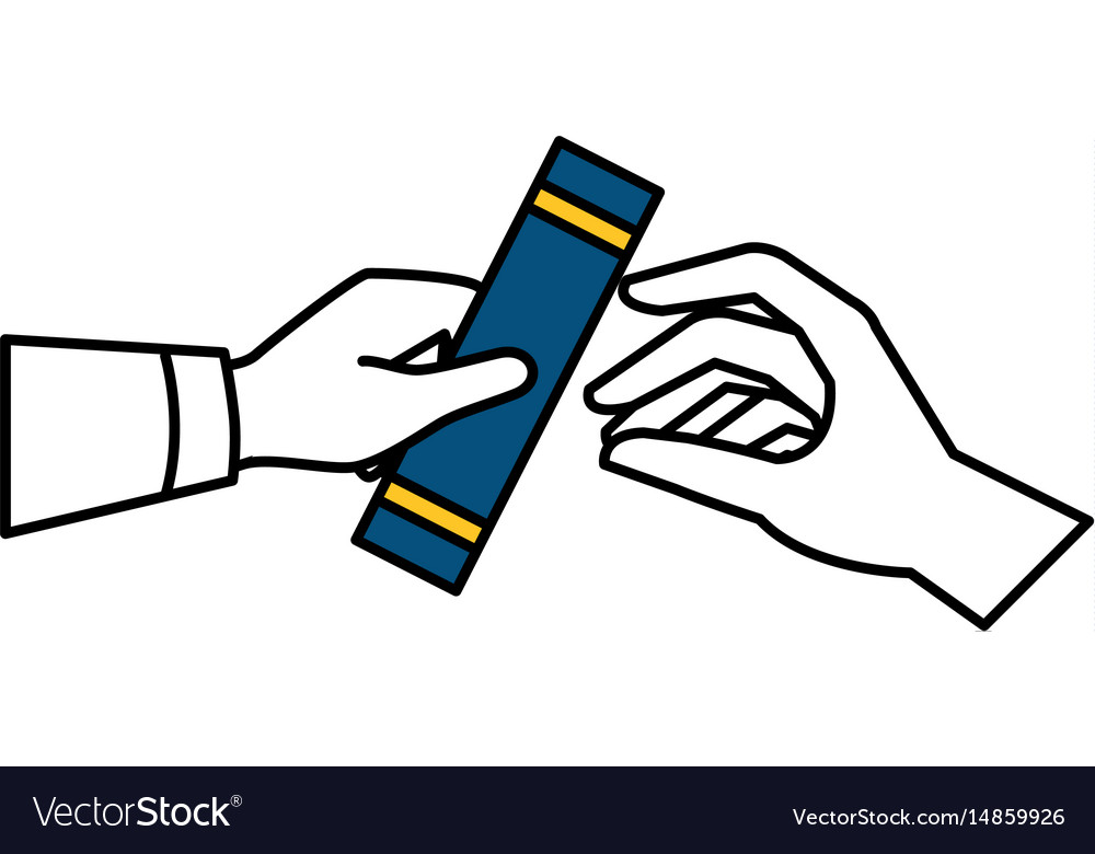 Hand Human With Graduation Certificated Isolated Vector Image
